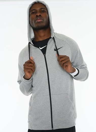 Nike Fermuarlı Kapüşonlu Spor Sweatshirt Gri